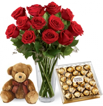 Red Roses vase,24 pcs Ferrero box with mini Bear Delivery to Manila Philippines