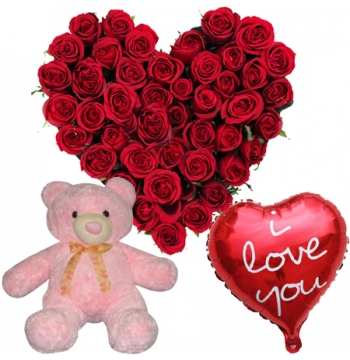 24 Heart Shaped Roses with I love you Balloon & Small Bear Send to Manila