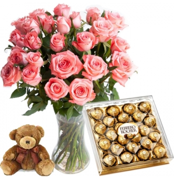 24 Pink Rose vase,Ferrero chocolate box with mini Bear Delivery to Manila Philippines