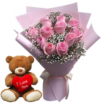 12 Pink Roses with Pink Bear w/ Love Pillow Send to Manila