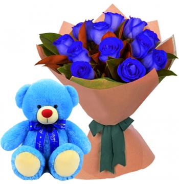 12 Blue Roses with Blue Bear Send to Manila
