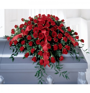 Red Casket Spray Send to Manila Philippines