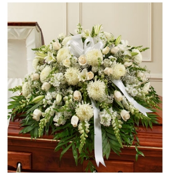 Delicate Whites Sympathy Funeral Casket Spray Send to Manila Philippines