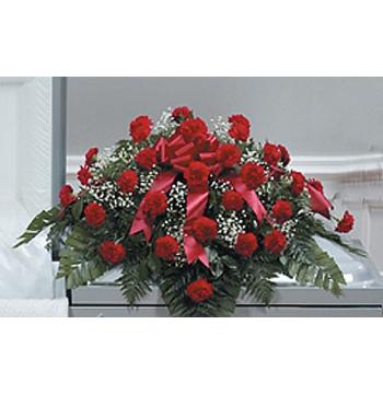 Funeral Carnation Casket Arrangement Send to Manila Philippines