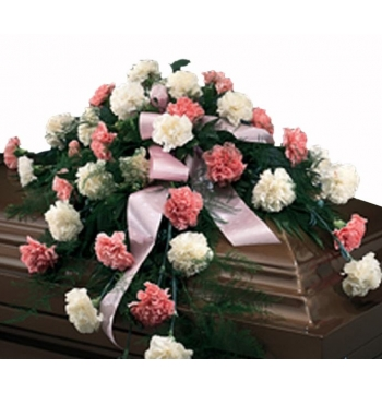 Cascading Pinks and Whites Casket Spray Send to Manila Philippines