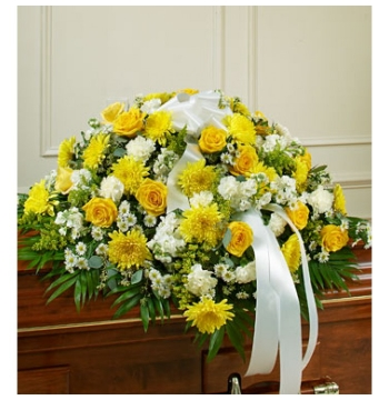 White and Yellow Bliss Casket Flower Spray Send to Manila Philippines
