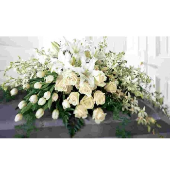 White Tribute Casket Flowers Send to Manila Philippines
