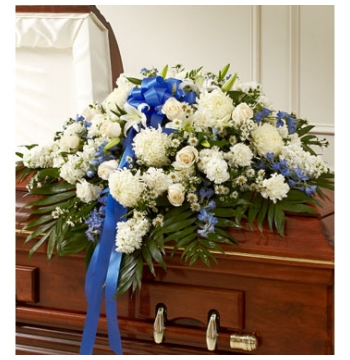 Accents of Blue Funeral Casket Spray Send to Manila Philippines