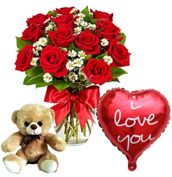 12 Red Roses Vase,Red Bear with Love U Balloon Send to Manila