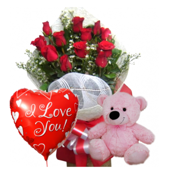 Red Rose bouquet,Pink Bear with Love u Balloon Send to Manila