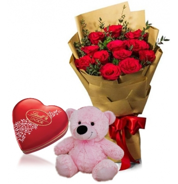 Red Rose bouquet,Pink Bear with Lindt Chocolate Send to Manila