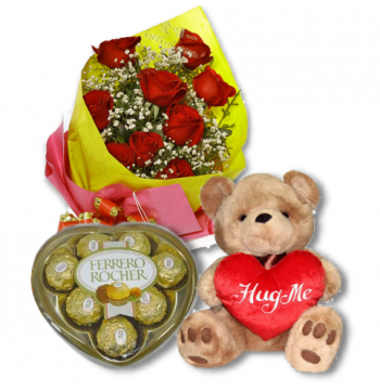 Red Rose bouquet,Ferrero chocolate box With Bear Delivery to Manila Philippines