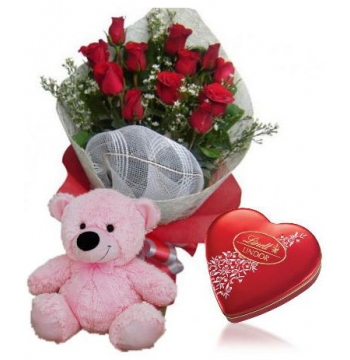 12 Red Rose bouquet,Pink Bear with Lindt Chocolate box Delivery to Manila Philippines