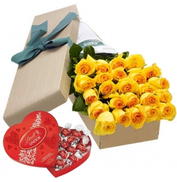 24 Yellow Roses Box with Lindt Chocolate Box Send to Manila
