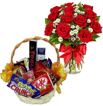 12 Red Roses Vase with Mixed Chocolate Box Send to Manila
