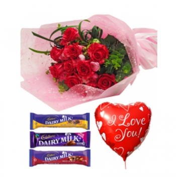 Red Roses,Cadbury Chocolate with Love U Balloon Send to Manila