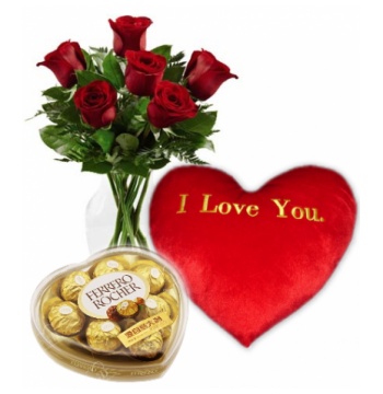 6 Red Roses,I love U Pillow with Ferrero Chocolate Box Send to Manila