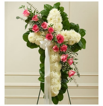 White and Pink Elegant Cross Spray Send to Manila Philippines
