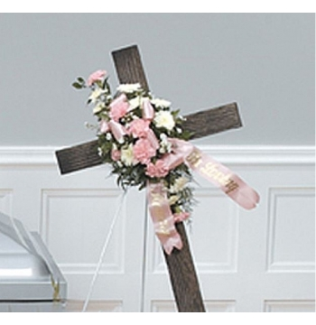 Wooden Cross Flower Send to Manila Philippines