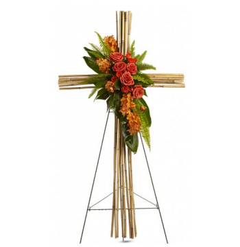Exotic Bamboo Cross Standing Spray Send to Manila Philippines
