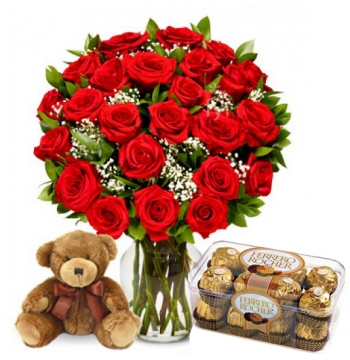 buy 24 red roses with bear and ferrero chocolate in manila