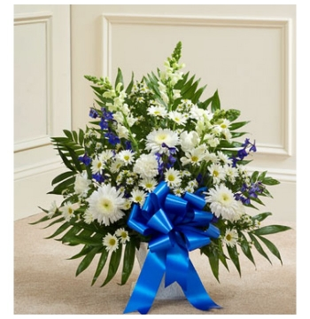 Deepest Condolences Blue and White Flowers Delivery to Manila Philippines