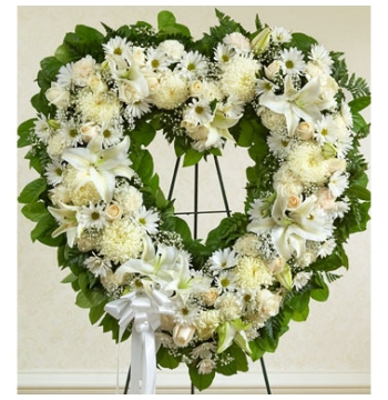 Angelic All White Heart Wreath Send to Manila Philippines