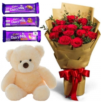 12 Red Roses Bouquet,Pink Bear with Cadbury Chocolates Send to Manila Philippines