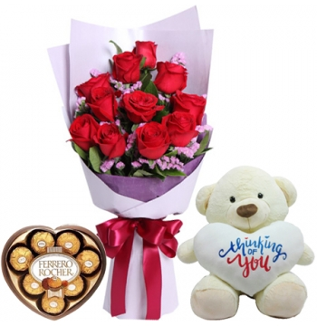 12 Red Roses & yellow carnation Bouquet,Pink Bear with Ferrero box Send to Manila Philippines