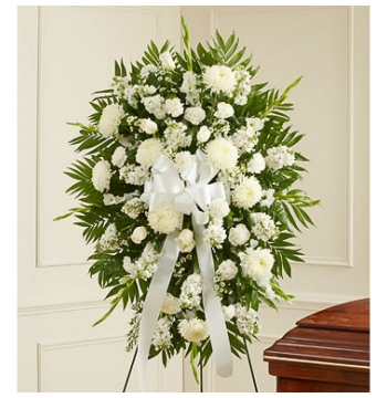 Deepest Sympathies White Funeral Standing Spray Send to Manila Philippines