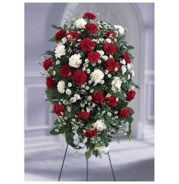 Red and White Local Funeral Standing Flowers Send to Manila Philippines
