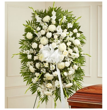 All White Funeral Standing Spray Send to Manila Philippines