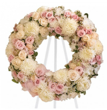 White and Pink Wreath Send to Manila Philippines