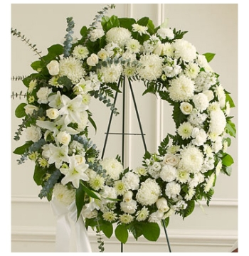 Heavenly Whites Wreath Send to Manila Philippines
