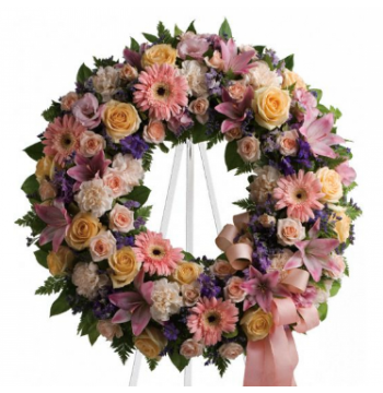 Soft Delicate Shades Wreath Send to Manila Philippines