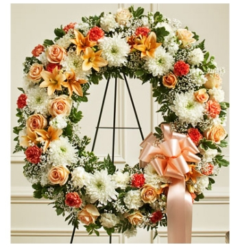 Peach and Orange Wreath Send to Manila Philippines