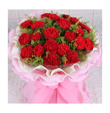 24 Red Carnations with Greens Send to Manila Philippines