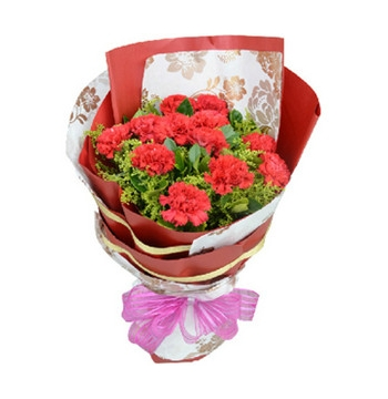 12 Red Carnations Hand bouquet Send to Manila Philippines