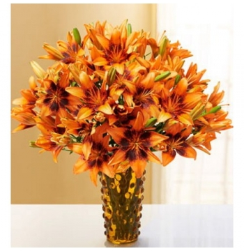 autumn lily arrangement