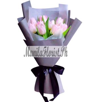 online 6 pink tulips bouquet manila