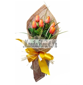 online 6 piece orange tulips manila
