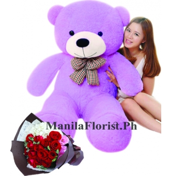 4 feet giant bear with red rose bouquet