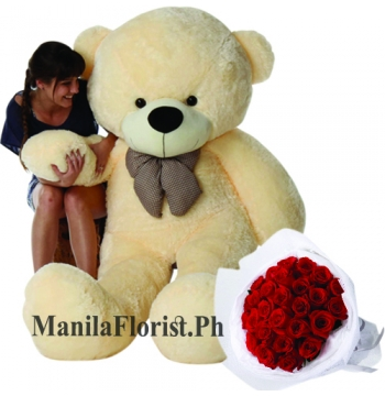 5 feet giant bear with 24 rose bouquet