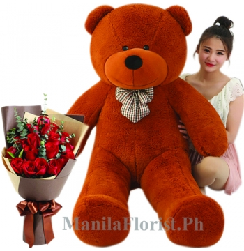 5 giant bear with 12 red rose bouquet
