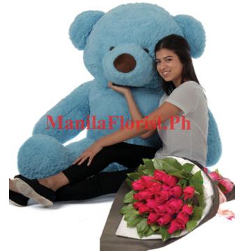 4 feet bear with rose bouquet