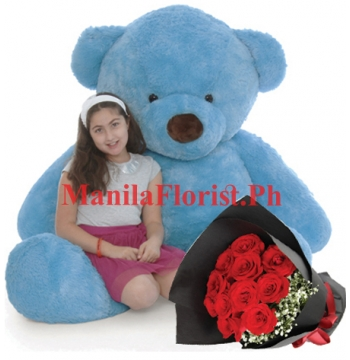 giant bear with red rose bouquet