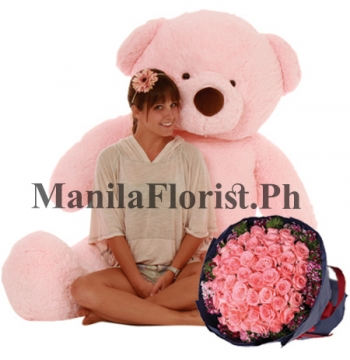 5 feet bear with rose bouquet