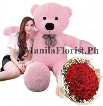 24 red rose bouquet with flower