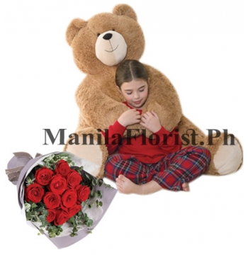5 feet bear with red rose bouquet