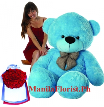 4 feet bear with 24 red roses bouquet